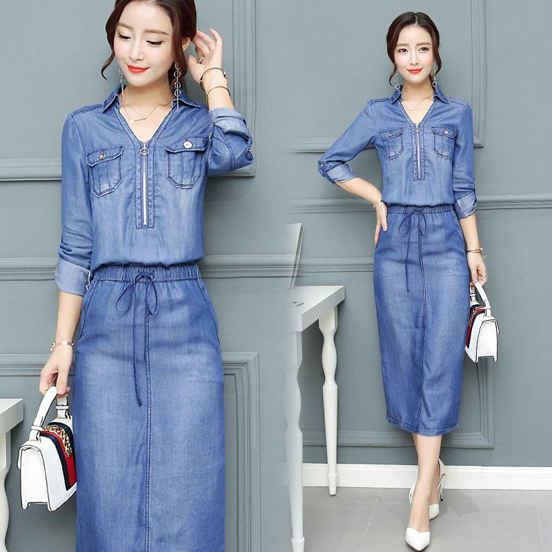 2018 Summer Dress Women Denim dresses Washed Blue Female Long Sleeve Jeans Dress Casual Ziper V Neck Slim Waist Spring Clothing