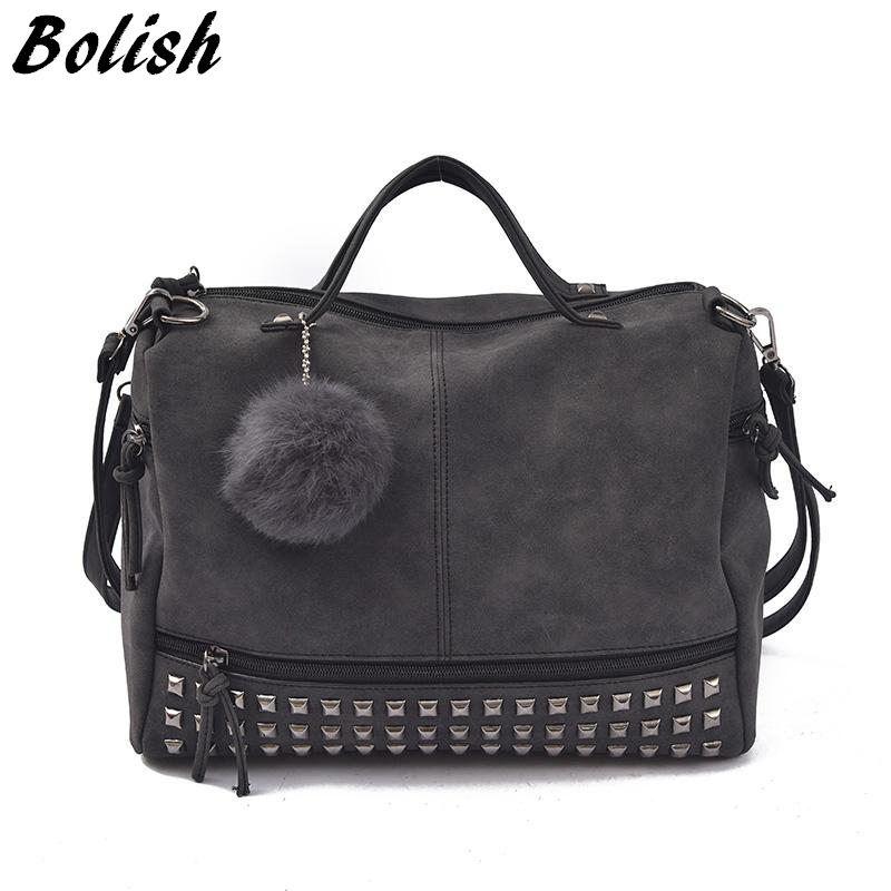 Bolish Vintage Nubuck Leather Female Top-<font><b>handle</b></font> Bags Rivet Larger Women Bags Hair Ball Shoulder Bag Motorcycle Messenger Bag