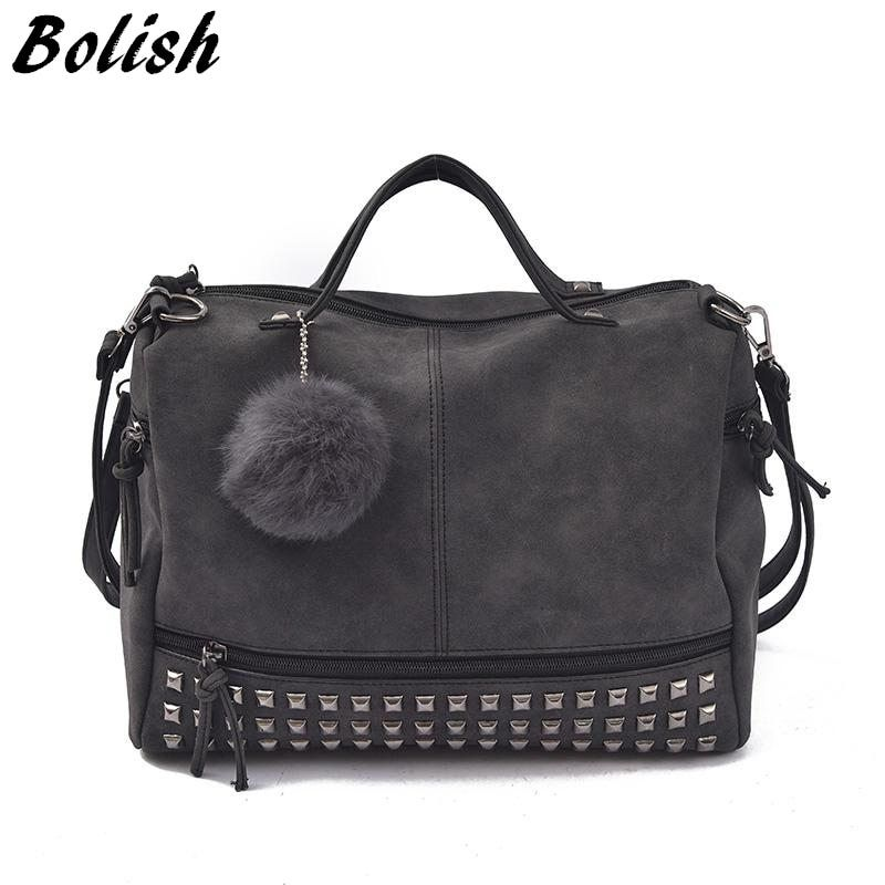 Bolish Vintage Nubuck Leather Female Top-handle Bags Rivet Larger <font><b>Women</b></font> Bags Hair Ball Shoulder Bag Motorcycle Messenger Bag