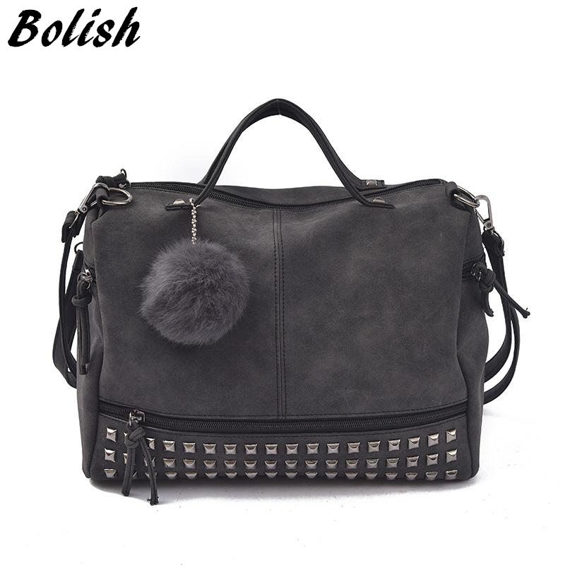 Bolish Vintage Nubuck <font><b>Leather</b></font> Female Top-handle Bags Rivet Larger Women Bags Hair Ball Shoulder Bag Motorcycle Messenger Bag
