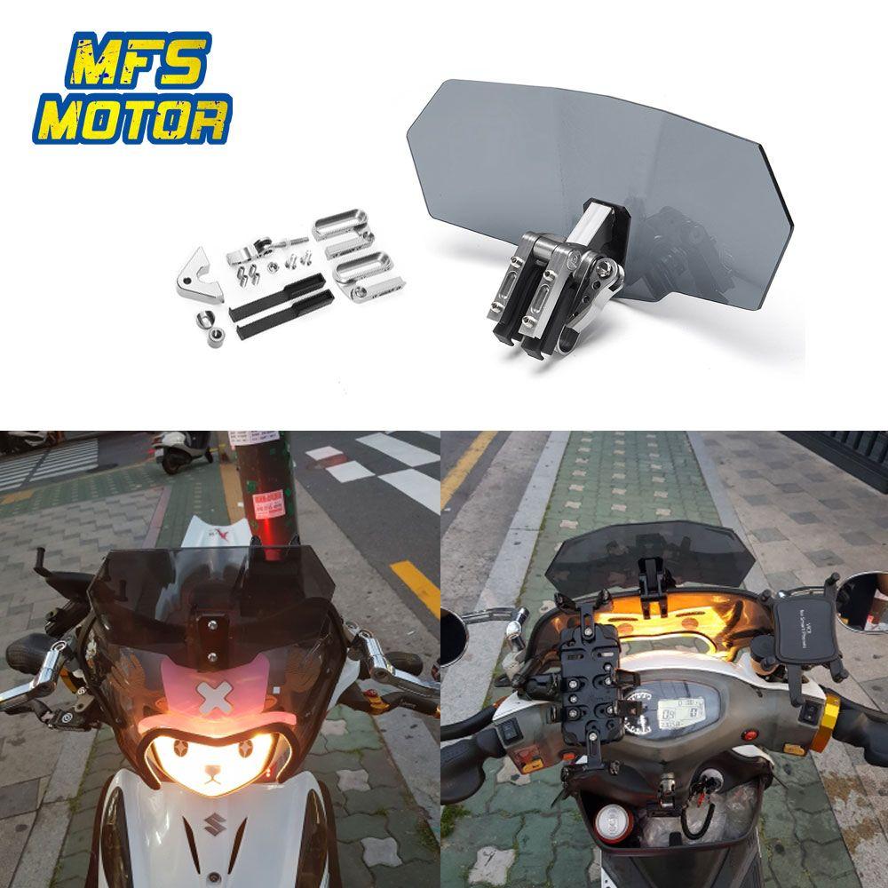 Unversal Airflow Adjustable Windscreen Wind Deflector Motorcycle Windshield For Honda Yamaha Suzuki Kawasaki BMW Ducati KTM