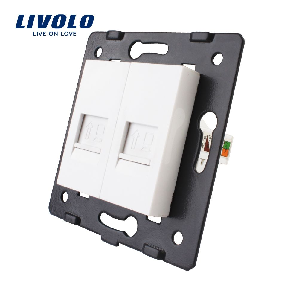 Manufacture Livolo,The Base Of Socket /Outlet /Plug For DIY Product, 2 Gangs Computer Socket VL-C7-2C-11