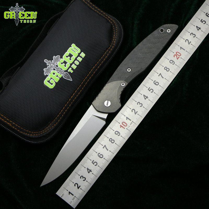 GREEN THORN 110A/B CF 3D M390 blade CF+Titanium handle Flipper folding knife outdoor camping hunting pocket fruit knive EDC tool
