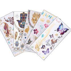 12 Design 1pc Gold Temporary Flash Metal Tattoo Sticker Beauty Butterfly Feather Love Women Henna DIY Body Art Waterproof Tattoo