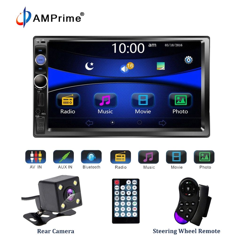 AMPrime Universal 2 din Car Multimedia Player Autoradio <font><b>2din</b></font> Stereo 7 Touch Screen Video MP5 Player Auto Radio Backup Camera