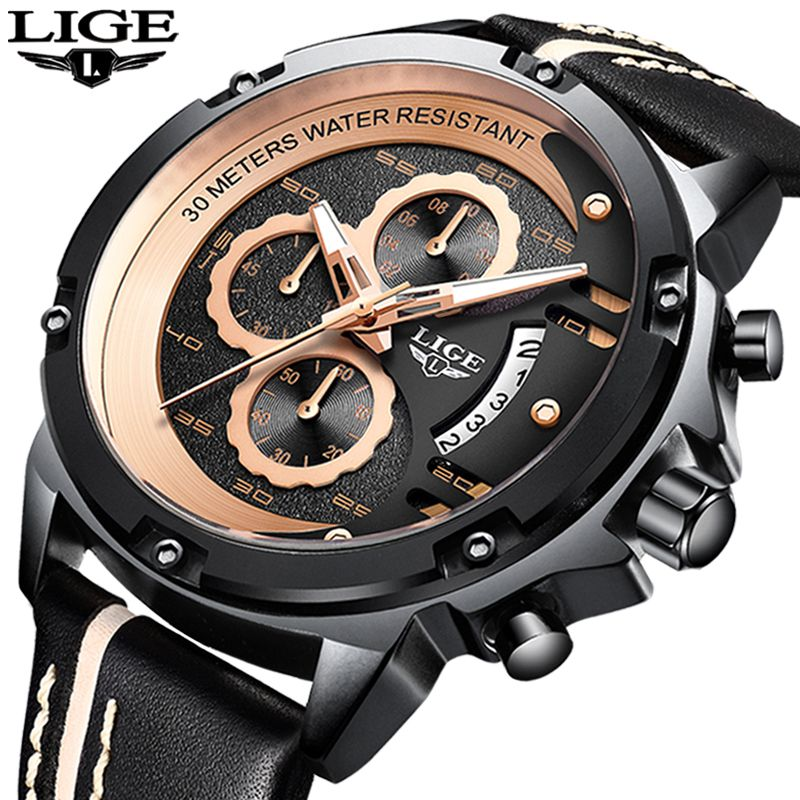 2019 Mens Watches LIGE Top Brand Luxury Men's Military Sports Watch Men Casual Leather Waterproof Quartz Watch Relogio Masculino