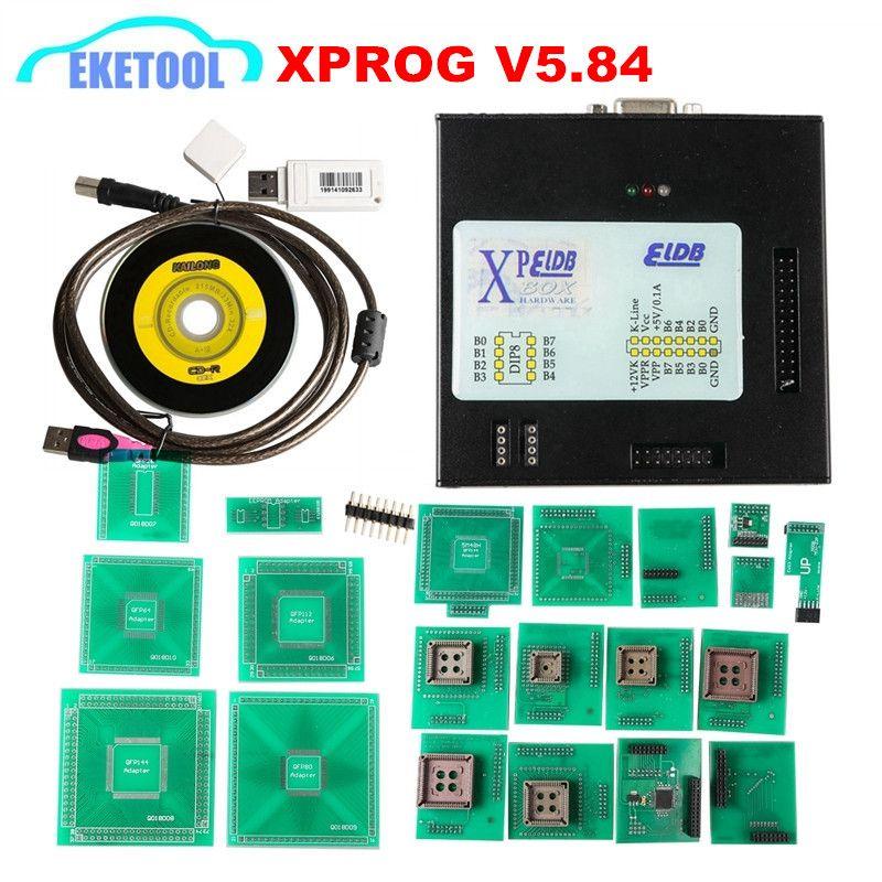 DHL FREIES Neueste V5.84 XPROG Box ECU Programmierer Hinzufügen Mehr Autorisierten Mit USB Dongle XPROG-M V5.84 Firmware V4.4 X-PROG ECU werkzeug