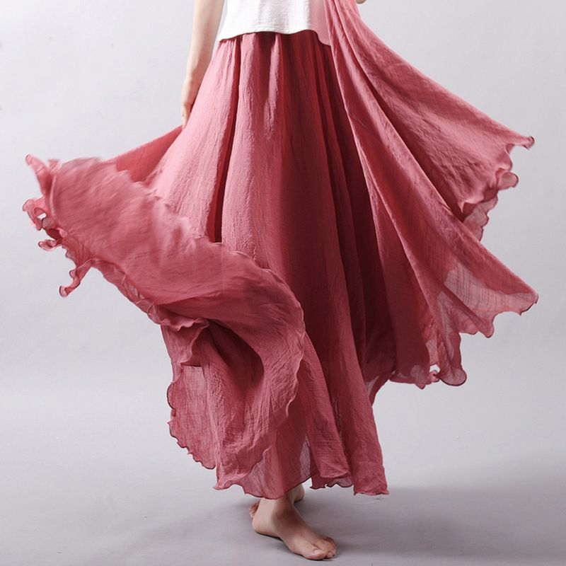 2017 Women Solid Color Elegant Cotton Linen Elastic Waist Big Swing Pleated Maxi Skirt Casual Beach Loose Skirts Female Bottoms