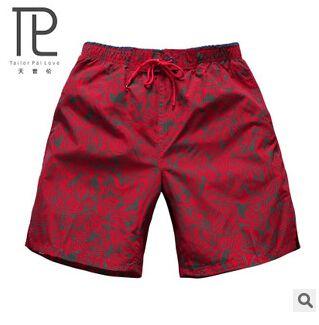 De los nuevos hombres del verano Pantalones cortos masculino impresión roja de secado rápido quinta Pantalones cortos hombres playa corto playa hombres cortos tabla corta # A3