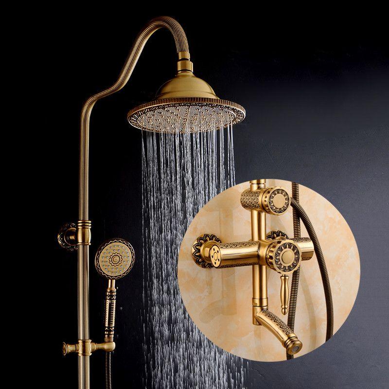 Dusche Armaturen Antike Badezimmer Dusche Set Bad Regen Dusche Wand Montiert Hand Messing Dusche Kopf Chuveiro Tun Banheiro 9712