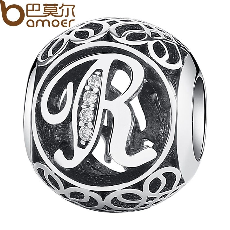 BAMOER Original 925 Sterling Silver Vintage Alphabet Letter R Charms Fit Bracelets & Necklace With Clear CZ Jewelry PSC008-R