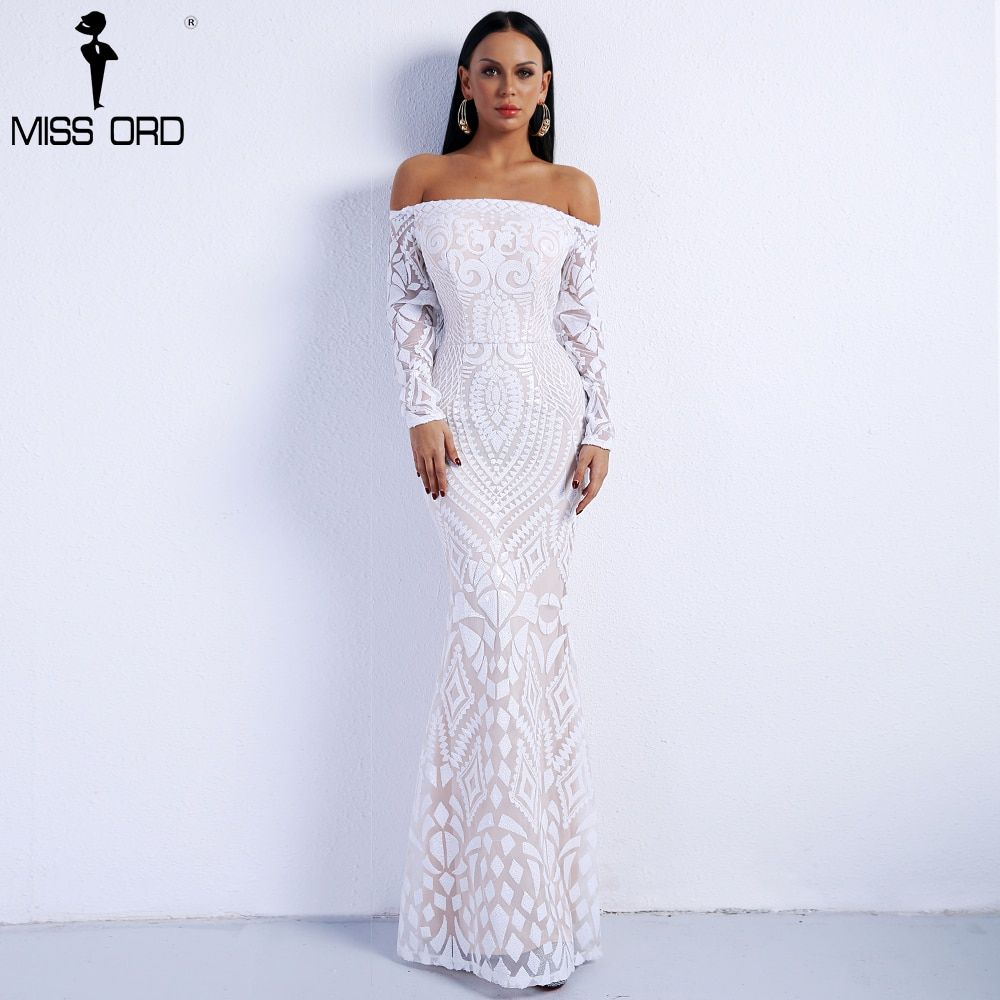 Missord 2018 Sexy Slash Neck Long Sleeve Retro Geometry Dresses Female Sequin Maxi Party Dress FT8249-2
