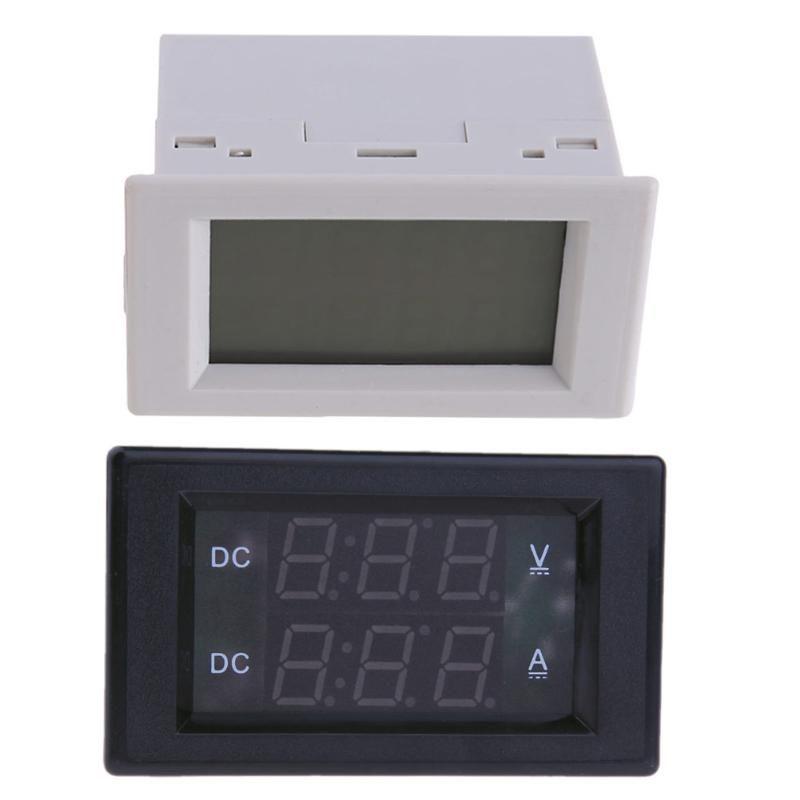 New 3 Wires DC 4.5-100V Voltmeter 20A Ammeter LCD Digital Dual Display Mini LCD Digital voltmeter Voltage Meter