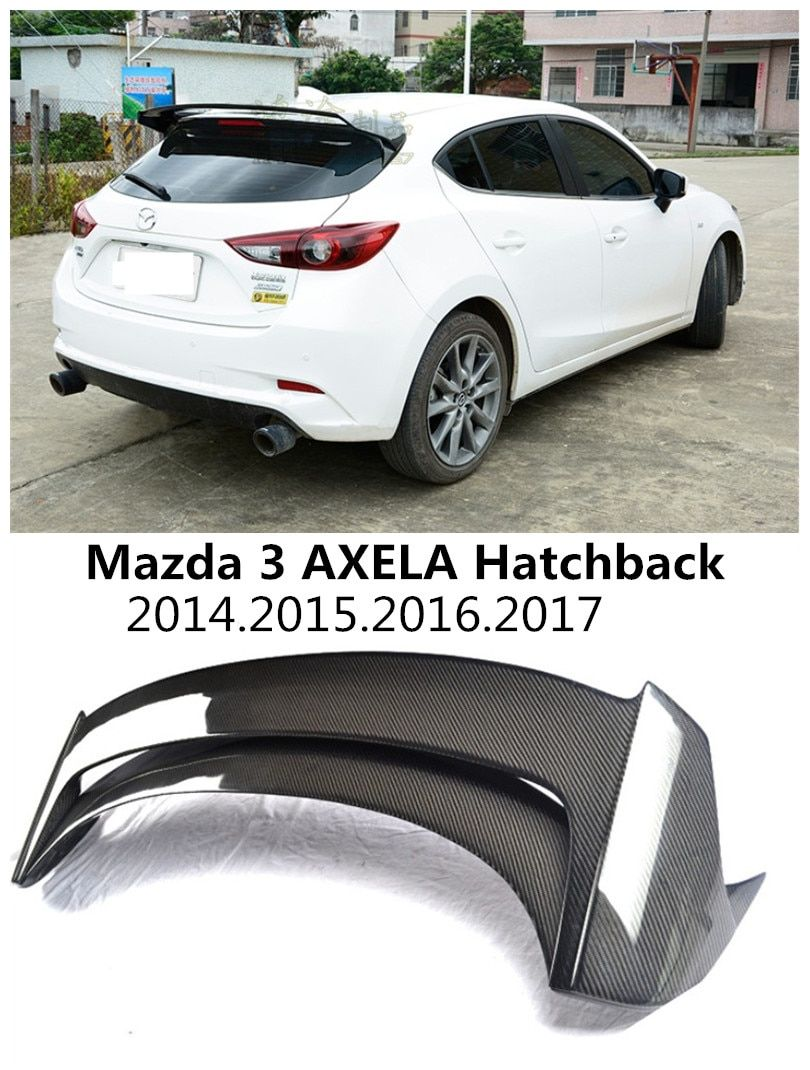 HLONGQT Carbon fiber /ABS Resin Spoiler For Mazda 3 AXELA Hatchback 2014-2017 High quality Rear Wing Spoilers Auto Accessories