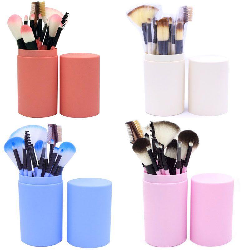 New Arrival 12pcs Makeup Brushes Professional Foundation Powder Eyeshadow Cosmetics brush Set with Cylinder Brush Kit