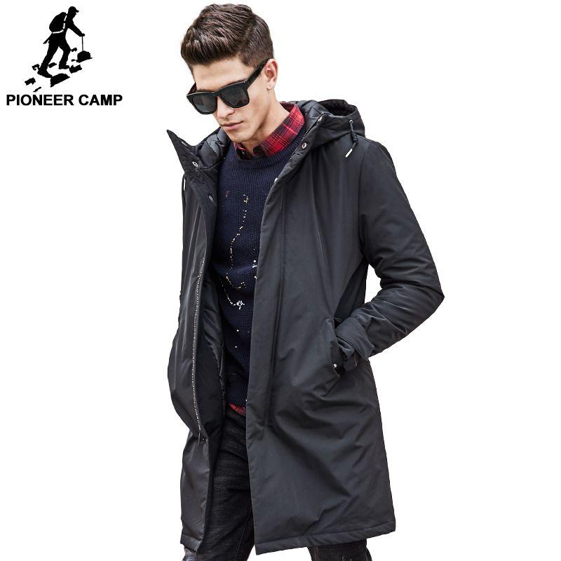 Camp pionnier longue Veste d'hiver au chaud hommes étanche marque vêtements mâle coton printemps manteau qualité noir vers le bas Parkas hommes 611801