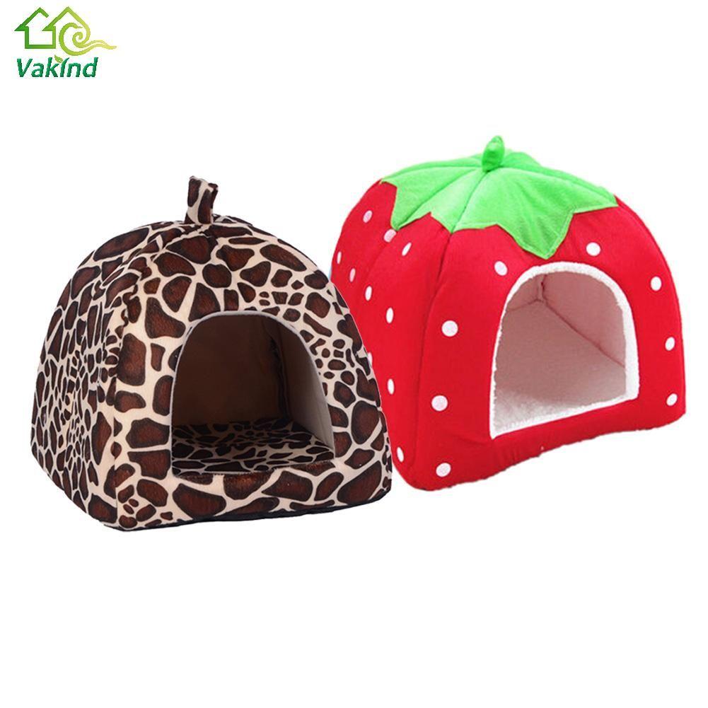 Soft Cat House Faltbarer Leopard Erdbeere Hund Bett Tier Höhle Nest Puppy Hundehütte Nette Haustier Hund Katze Haus Hohe qualität