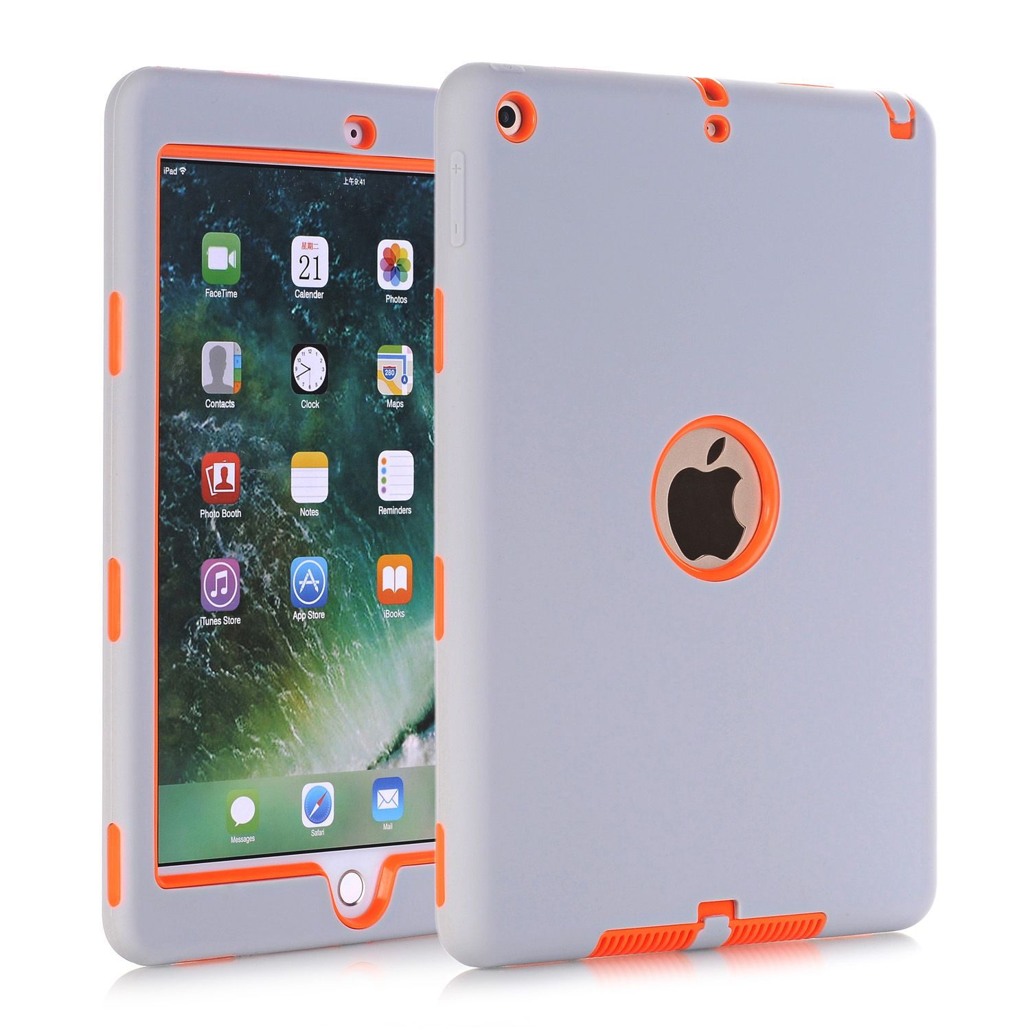 Cases For New iPad 9.7 2017 (A1822/A1823),High-Impact Shockproof 3 Layers Soft <font><b>Rubber</b></font> Silicone+Hard PC Protective Cover Shell