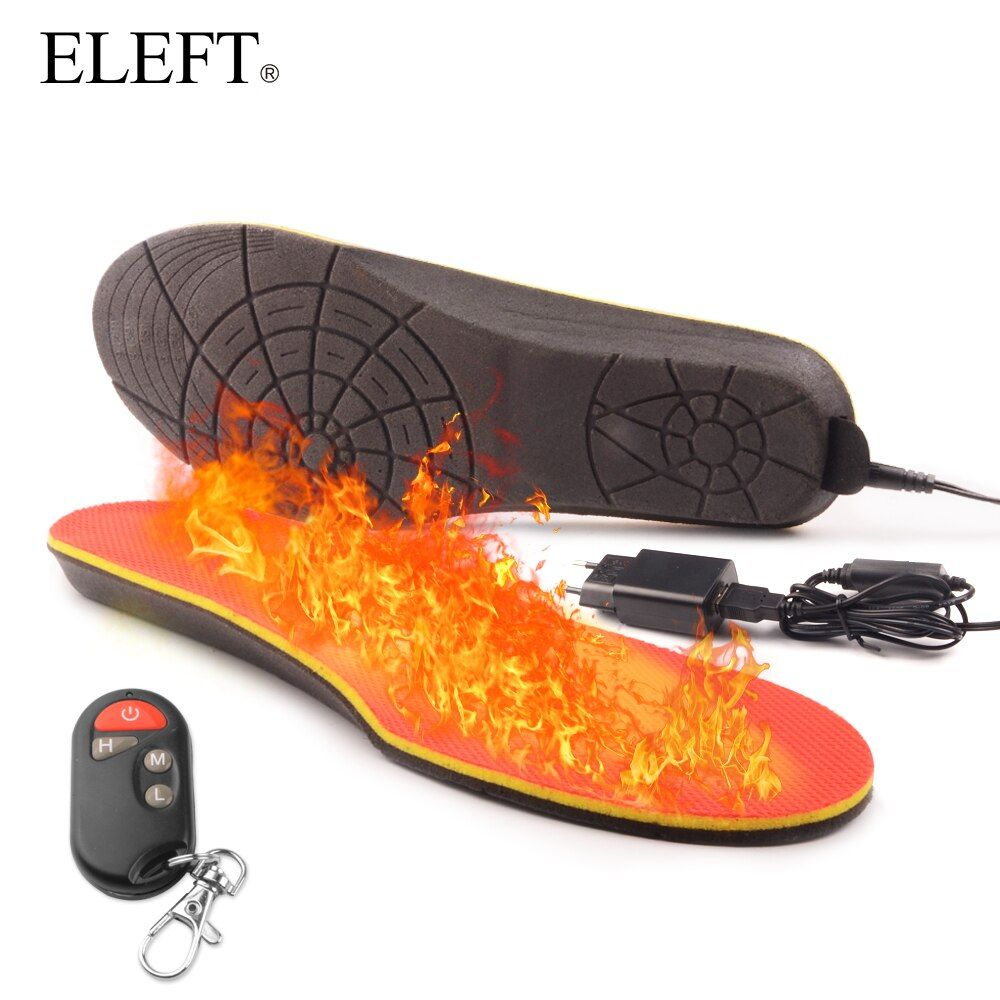 ELEFT Electric Heated Insole Winter Shoes Boots Pad With Remote Control Orange Foam Material memory foam heated insoles