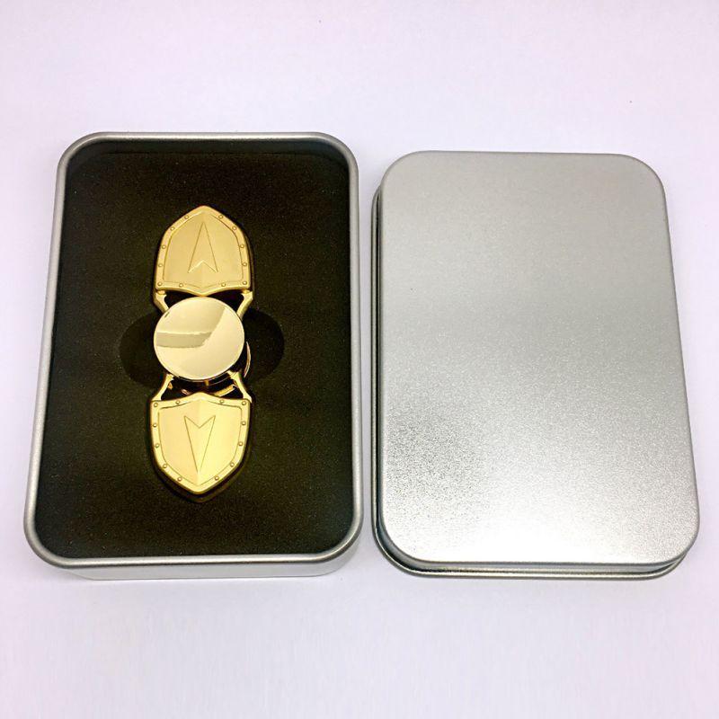 Spinner Con Caja de Dedo dedo de Mano Mini Gyro Descompresión Relajante Niños Juguetes Para Adultos de Plata de Oro