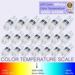 20 Pcs Nouveau Blanc Super Lumineux T10 LED Lumière 1.5 W W5W 194 192 168 DC 12 V Auto Voiture Ampoule Lampe Lecture Signal lumière