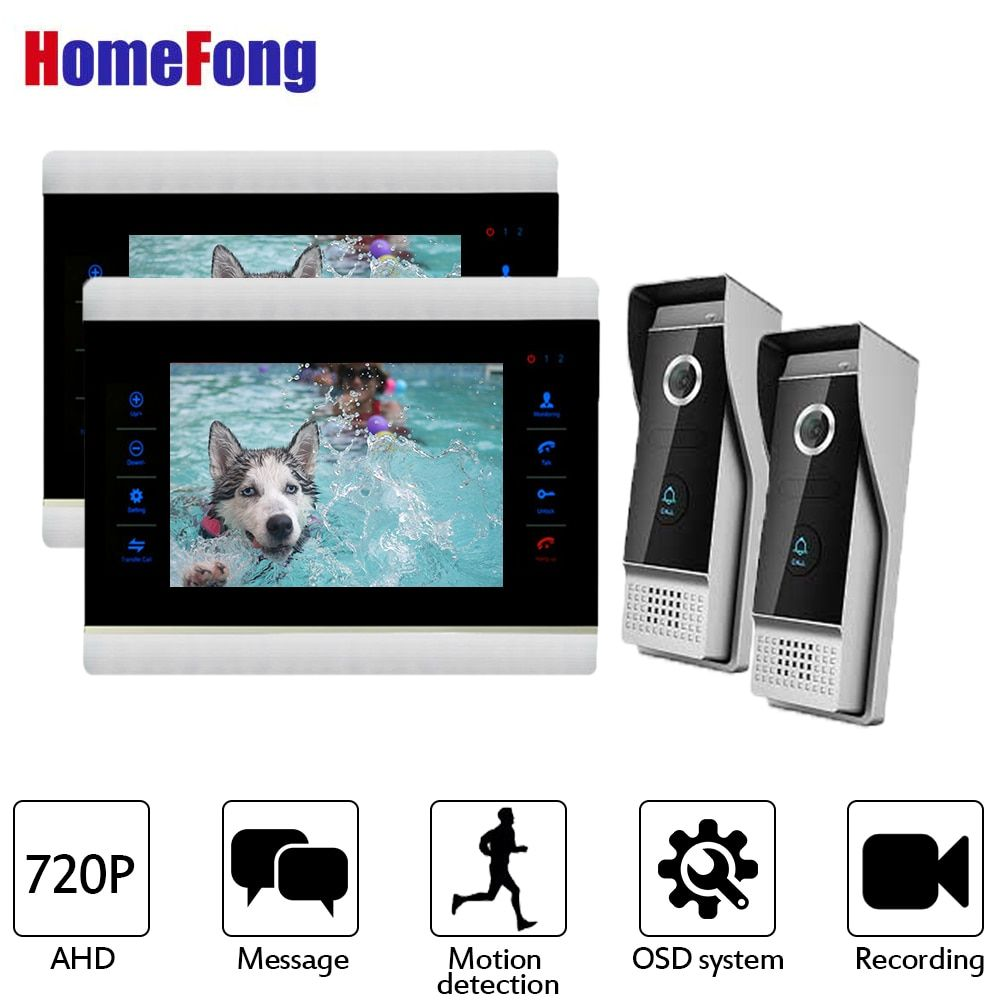 Homefong AHD Video Door Phone 2 Monitors HD Video Doorbell Motion Detection support 7 Inch Video Interom Wired Doorbell Button