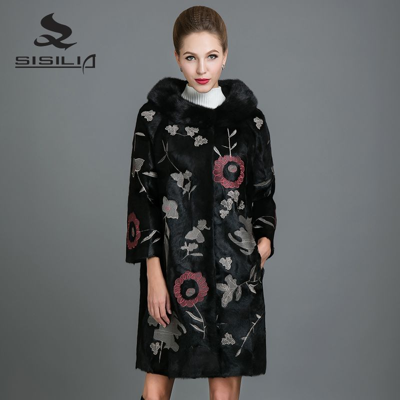 SISILIA 2017 New Real Mink Fur Coat Women Fashion Mink Jackets Long High Quality Mink fur Coats Of Female