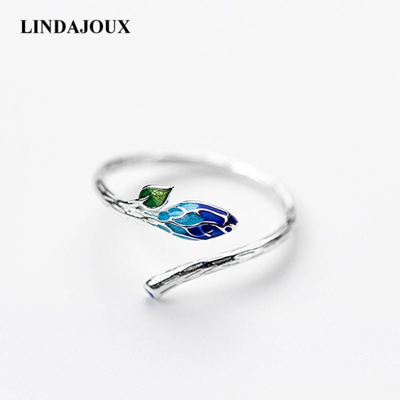 DropShipping 925 Sterling Silver Retro Ethnic Enamel Leaf Open Ring For Women S925 Resizable Wedding Engagement Rings