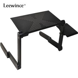 Leewince Computer Desks Portable Adjustable Foldable Laptop Notebook Lap PC Folding Desk Table Vented Stand Bed Tray