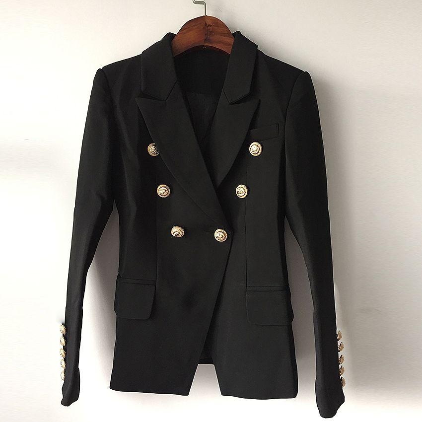 TOP QUALITY New Fashion 2018 Designer Blazer Jacket Women's Double Breasted Metal Lion <font><b>Buttons</b></font> Blazer Outer size S-XXXL