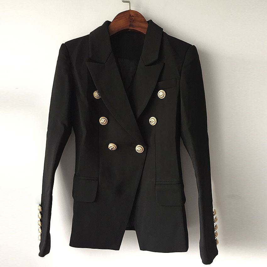 TOP QUALITY New Fashion 2018 Designer Blazer Jacket Women's Double Breasted Metal Lion Buttons Blazer Outer size S-XXL