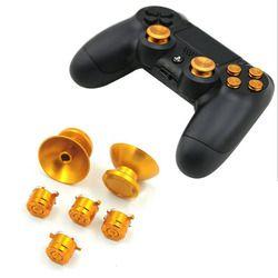 Logam 3D Analog Joystick Thumb Stick Grips Caps + Tombol Perbaikan Suku Cadang Pengganti untuk Sony PlayStation DualShock 4 PS4 Controller