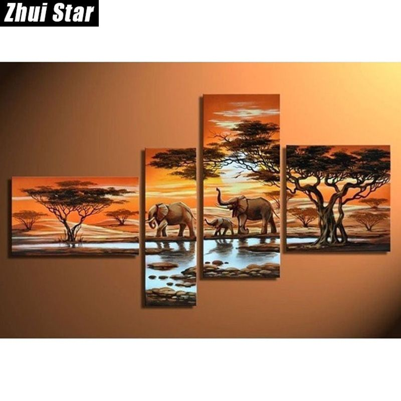 Zhui Star 5D DIY Full Square Diamond Painting Elephant family Multi-picture Combination Embroidery Cross Stitch Mosaic Decor