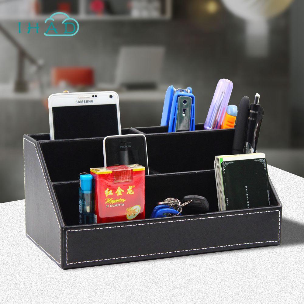 De haute qualité boîte à outils pour bureau Organisateur PU boîte multifonctionnel bureau de finition boîte de rangement support de la Télécommande cadeau de père