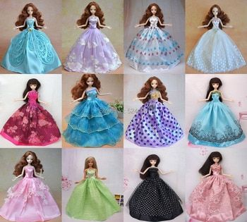 Handmade 10Pcs/lot Doll Dress Clothes Wedding Party Gown For Barbie Kurhn Doll Free Shipping Christmas Gift