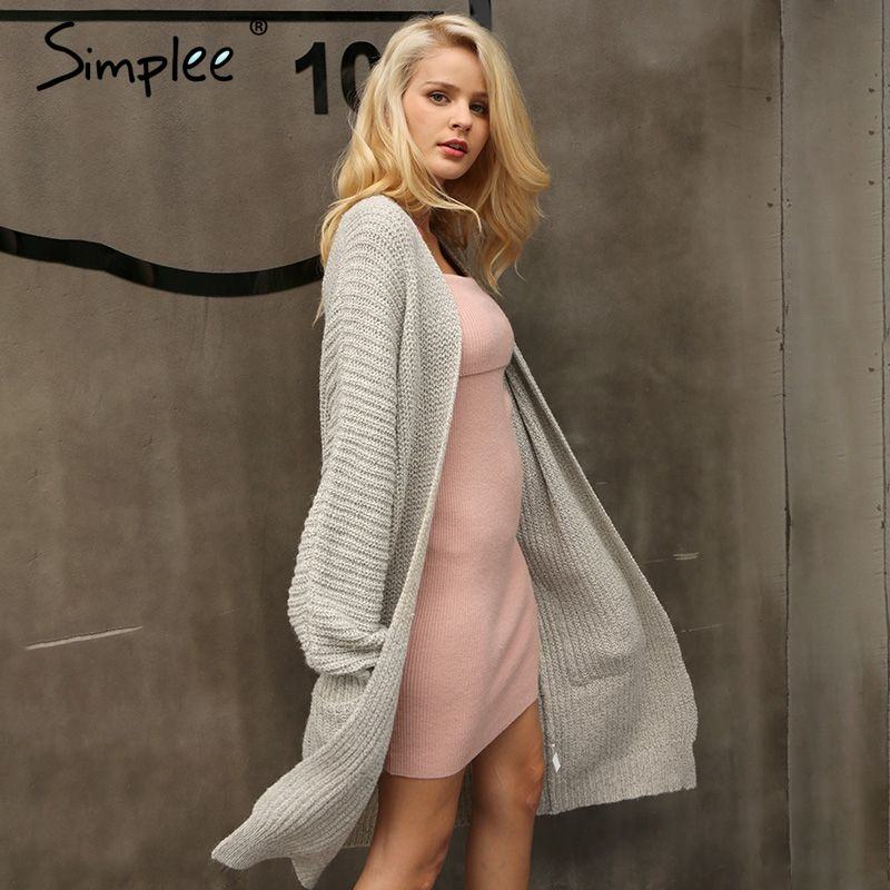 Simplee Autumn knitted long cardigan female Winter soft loose women sweater cardigan coat Causal sweater jumper outerwear 2017
