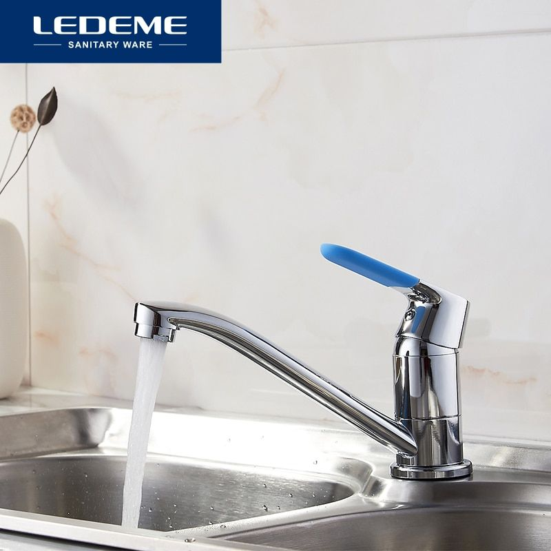 LEDEME Kitchen Sink Faucet Tp Chrome Plated 7 Color Single Handle Lid Hot Cold Mixer Finish Faucets Kitchen Water Taps L4553
