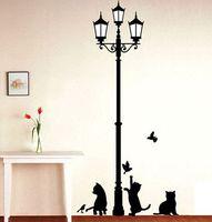 Envío gratuito Popular antigua lámpara de gatos y pájaros pared pegatina etiqueta de la pared Mural casa Decoración habitación niños calcomanías de papel