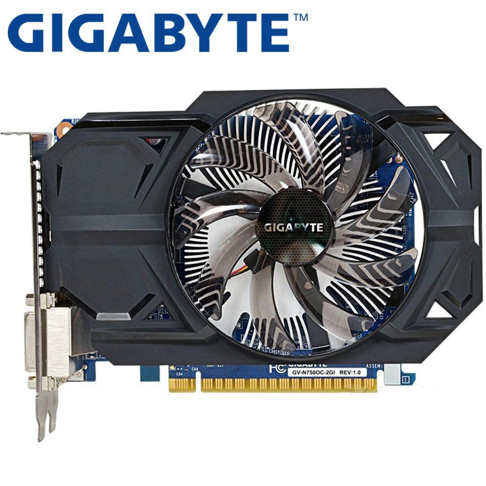 GIGABYTE Grafikkarte Original GTX 750 2 GB 128Bit GDDR5 Video Karten für nVIDIA Geforce GTX750 Hdmi Dvi Verwendet VGA Karten Auf Verkauf