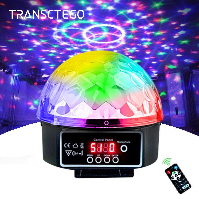 Lampe de scène lampe Led Disco Laser 9 couleurs 21 Modes DMX DJ son fête lumière projecteur de noël lumières sonores Led Disco Ball lumière