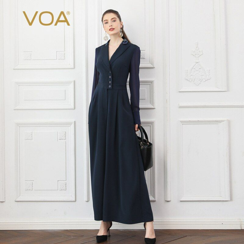 VOA Navy Blau Herbst Mesh Langarm Schwere Silk Overalls Breite Bein Hosen Frauen Dünne Blazer Kragen Tunika Büro Damen arbeit K753
