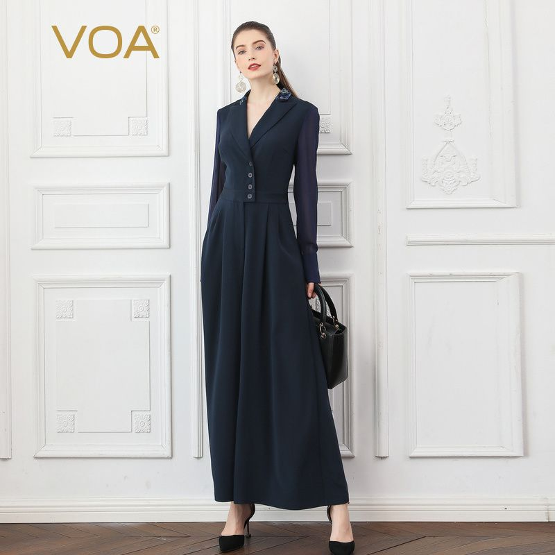 VOA Navy Blue Fall Mesh Long Sleeve Heavy Silk Jumpsuits Wide Leg Pants Women Slim Blazer Collar Tunic Office Ladies Work K753