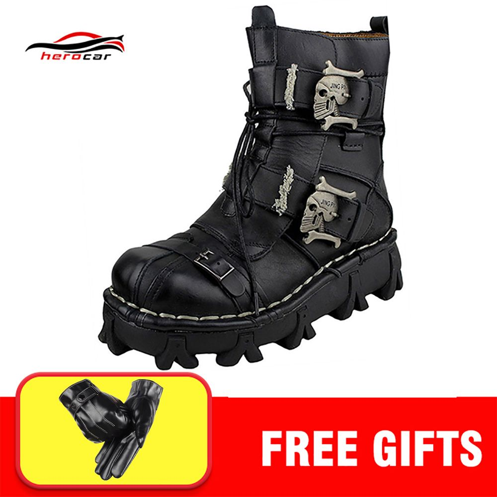 Cool Motorcycle Boots Men Biker Retro Genuine Cow Leather Skull Punk Martin Shoes Motorbike Moto Boots Protective Gear EU 38-49