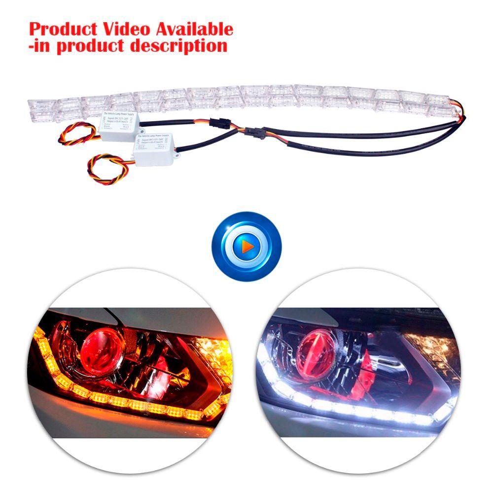 2Pcs Car Styling LED 16L Rider Strip LED Daytime Running Light Turn Signal LightS Flowing Yellow Steady Crystal Bar DRL Lamp