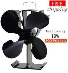 4 cuchillas estufa ventilador (negro) 19% ahorro de combustible estufa ventilador de madera quemador/chimenea-eco amistoso
