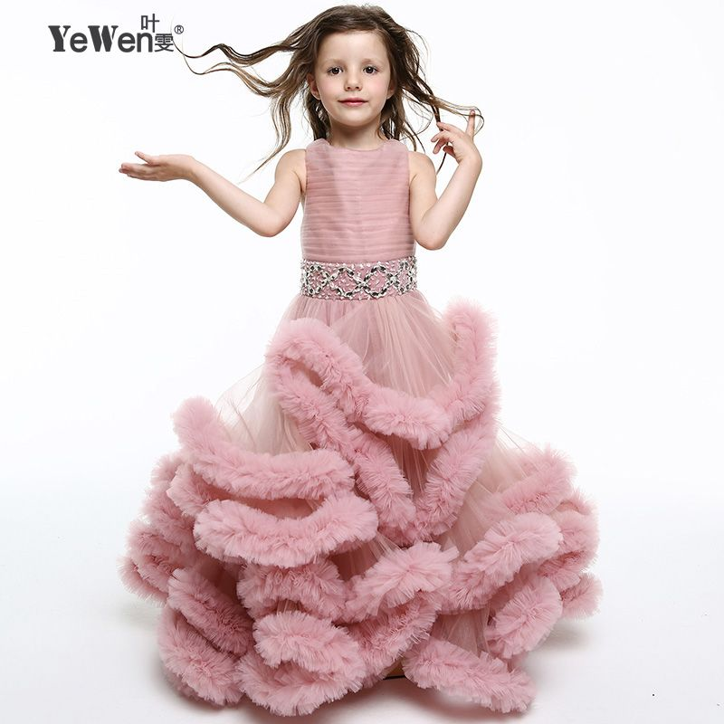 Yewen Deep Pink Princess Cloud little flower girls dresses for weddings kids Children Party dresses 2018 Floor Length Ball Gown