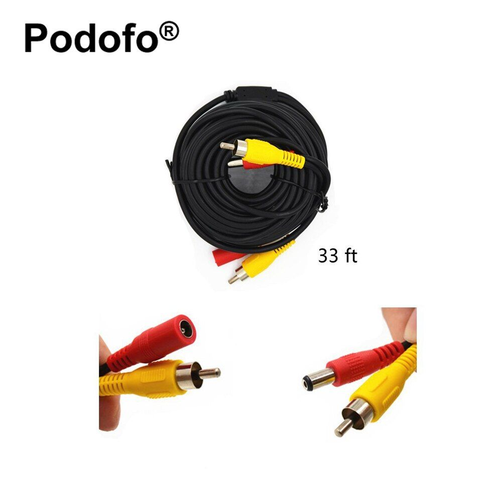 Podofo DC 12V Power Audio Video AV Extension Cable for Cars/ Tuck / Bus / Trailer Reverse Parking System (10M / 15M / 20 Meters)