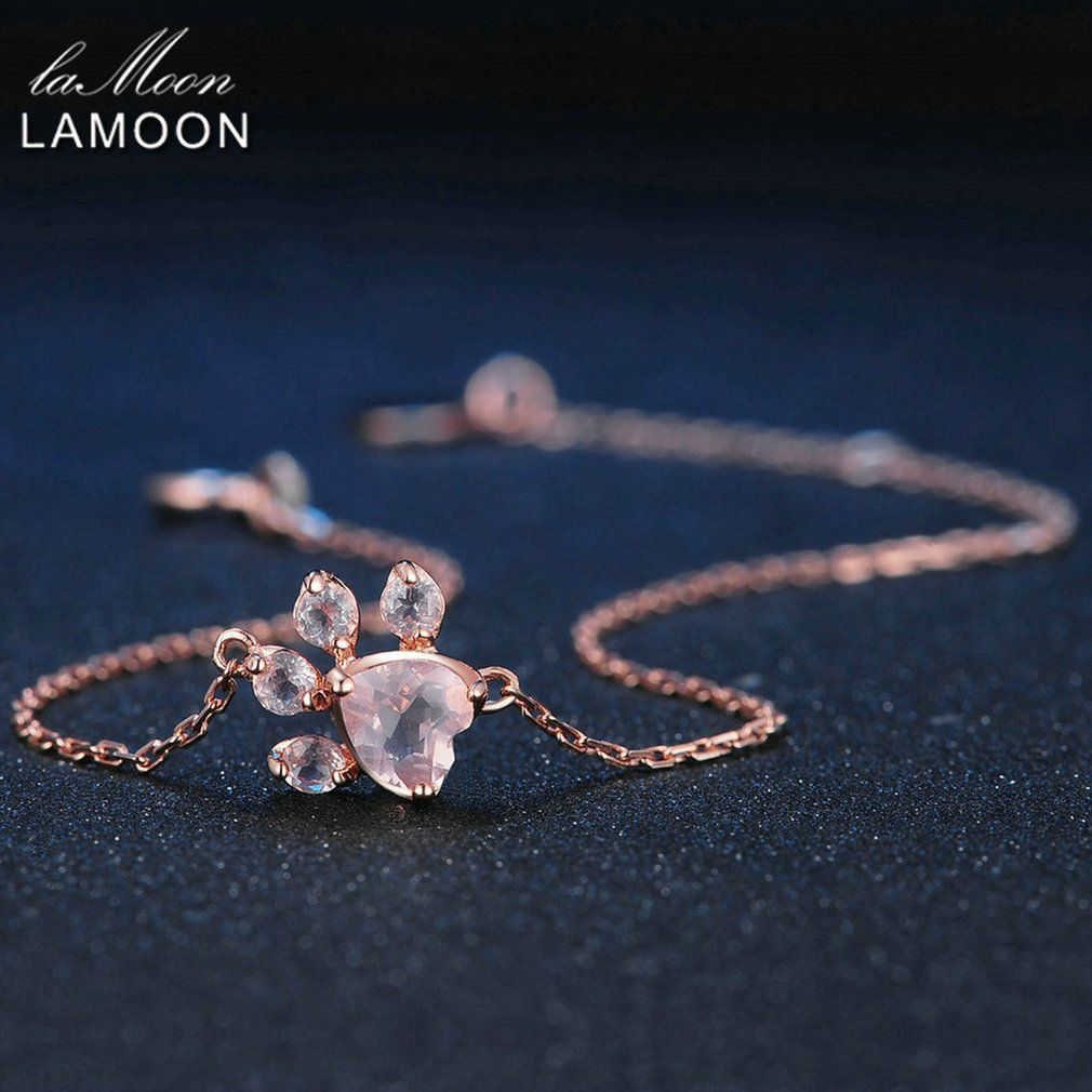 LAMOON S925 5X5.5mm Rose Quartz 925 Sterling Silver Jewelry Charm Bracelet Rose Pink 100% Pendant Lovely Chain Wedding