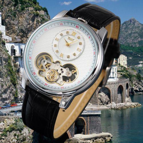 JARAGAR Tourbillon Wrap Automatique Horloge Hommes Noir Bracelet En Cuir Véritable Double Mouvements hommes Montre Mécanique