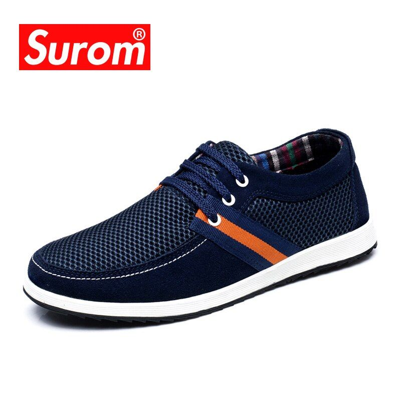 SUROM Breathable Mesh Men's Casual Shoes Men 2017 Summer Fashion Board Shoes Krasovki High Quality Suede Leather Male Shoes